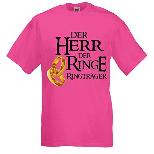 Herren T-Shirt für den Junggesellenabschied mit Motiv Der Herr der Ringe - Ringträger (Männer/Bräutigam) in pink, Größe XXL
