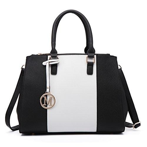 Miss LuLu Ledertasche Damen Schultertasche Handtasche (LM1643-Dunkelblau / Weiss) Black Large