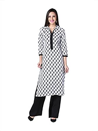 D&S Designer and Trendy White Cotton Kurti With Black Printing And Placket For Women - X-Large