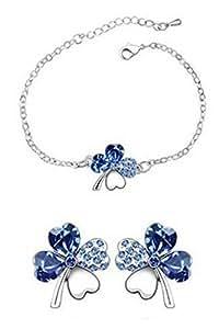 Bracelet/boucle d'oreille parure-trefle a 4 feuille-saphir bleu