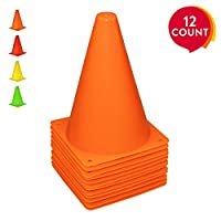 REEHUT 7.5 Inch Plastic Sport Training Traffic Cone (Set of 12 or 24)- For Kids Home GYM Football Training Soccer 4 Colors