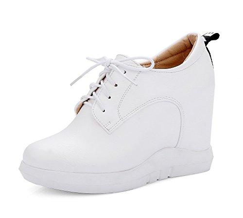 VogueZone009 Damen Schnüren Pu Leder Rund Zehe Hoher Absatz Rein Pumps Schuhe Weiß