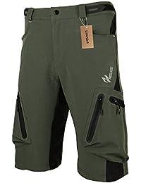 Lixada - Pantalones de bici MTB, transpirables con cremallera, color verde, tamaño XL