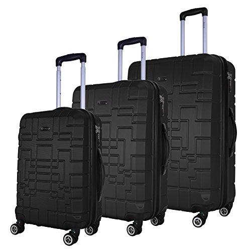 SHAIK® Serie XANO HKG Design Hartschalen Trolley, Koffer, Reisekoffer, in 3 Größen M / L / XL / Set 50/80/120 Liter, 4 Doppelrollen, TSA Schloss (Koffer Set, Schwarz) (Gepäck Hardside Silber)