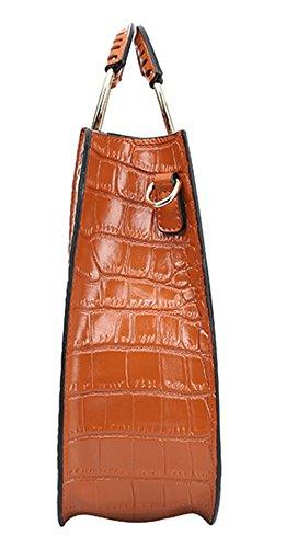 Xinmaoyuan Sacs à main pour femme Sacs à main en cuir de vachette sac à main Sac rétro anneau motif crocodile sac de messager d'épaule Brown