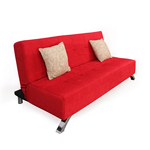 Forzza Laura Three Seat Sofa cum Bed (Red)