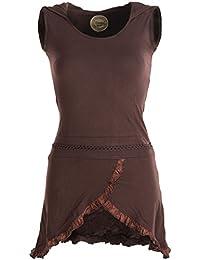 Vishes - Alternative Bekleidung - Asymmetrisches Lagenlook Baumwollkleid mit Rüschen, Flechtwerk und Zipfelkapuze