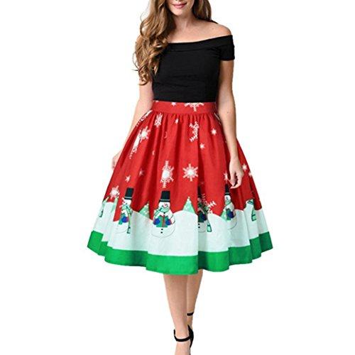 n Festliche Kleider Longra Damen Kleider Skirt A-linie Skater Midi Rock Kurz Kleid mit Weihnachtsmann Schneemann Wintersweet Christmas Kleid Abendkleider Partykleid (Red, XL) (Cute Christmas Kleid)