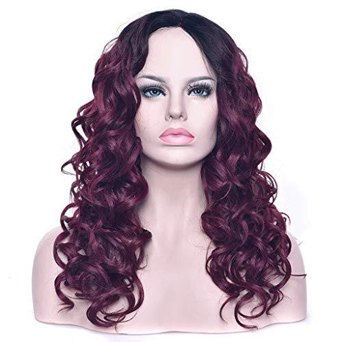 FH JIAFA - Perruque de Haute qualité Perruque de Haute qualité Perruque Noire à la Mode Noire de vin Rouge de Cheveux bouclés de Cheveux de Femmes