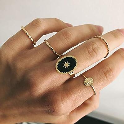 Bague Emaillée en acier inoxydable - Motif étoile émaillé - Forme ovale - Ajustable