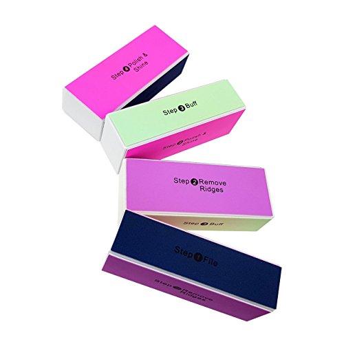 Nagelfeilen Block - mit je 4 Verschiedenen Oberflächen, 1. Feilen, 2. Kanten entfernen, 3. Mattieren, 4. Polieren - Verschiedene Mengen Wählbar, Stückzahl:4 Stück