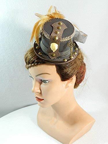 Mini Zylinder braun Minihat Damenhut Fascinator Hut Fashion Trilby Hut