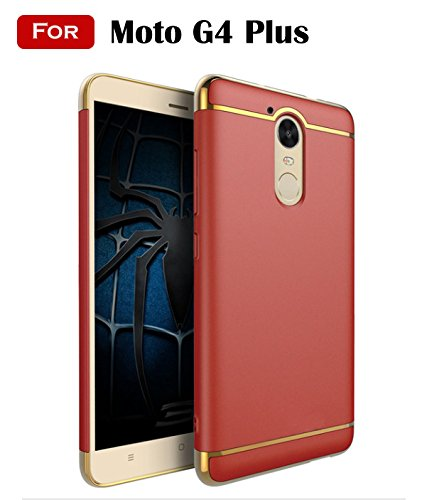Mobistyle 3-In-1 Shockproof Dual Layer Thin Back Cover Case For Moto G4 Plus 4Th Gen(Red)