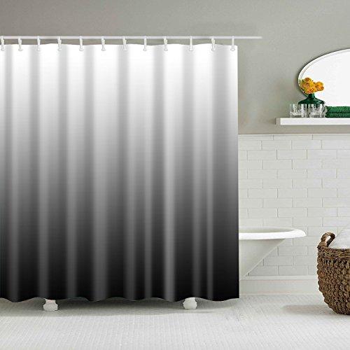 YISHU Farbverlauf Wasserdichter Duschvorhang Anti-Schimmel inkl. 12 Duschvorhangringe für Badezimmer 180x180/180x200 cm schwarz 180x180cm