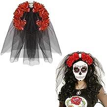 NET TOYS Banda Pelo Día de los Muertos Bisutería La Catrina Rojo y Negro Velo Halloween