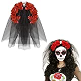 NET TOYS Banda Pelo Día de los Muertos Bisutería La Catrina Rojo y Negro Velo Halloween Diadema cráneo Complemento para el Cabello de Calavera y Rosa Diadema Fiesta Mexicana
