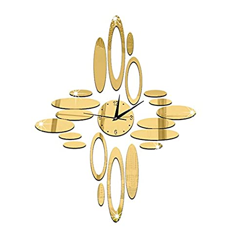 Forepin® DIY Wall Clock Adhesive Stickers Mirror Effects for Living Room Bedroom Bathroom - Gold