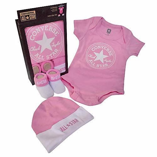 Converse Babykleidung Set Erstausstattung Baby Geschenkset Body Strampler Mütze Socken 3er Gift Set Pink Gr. 0-6 Monate (Gestrickte Converse)