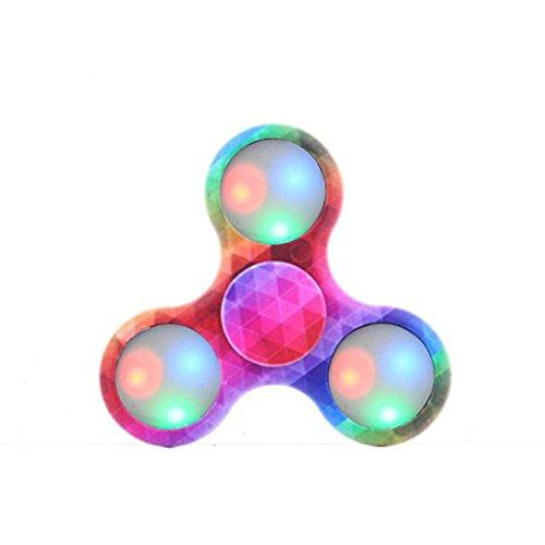 LED Light Fidget Hand Spinner,Bescita LED Light Fidget Hand Spinner Finger Toy EDC Focus Gyro Fast Shipping (Multicolour A)