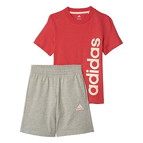 Adidas Lk Lin Sum Set Kinderset mit Shirt und kurzer Hose, Kinder, Lk Lin Sum Set, Rosa (rosbas) (Lk Hose)