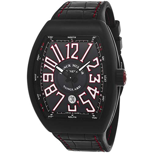Franck Muller Men's Vanguard Black Leather Band Automatic Watch...
