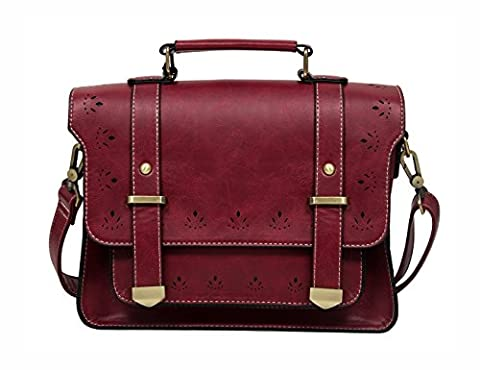 ECOSUSI Women's Faux Leather Retro Satchel Red