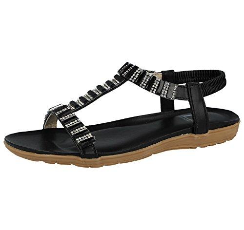 Foster Footwear Damen-Schuhe von Emma Metallic, Zinn T Bar Elastic-Sling-Flachrücken, Niedrig-Keil, mit Juwel-Detail, SANDALEN Größe 33-41, - Black/Jewel - Größe: 39 -