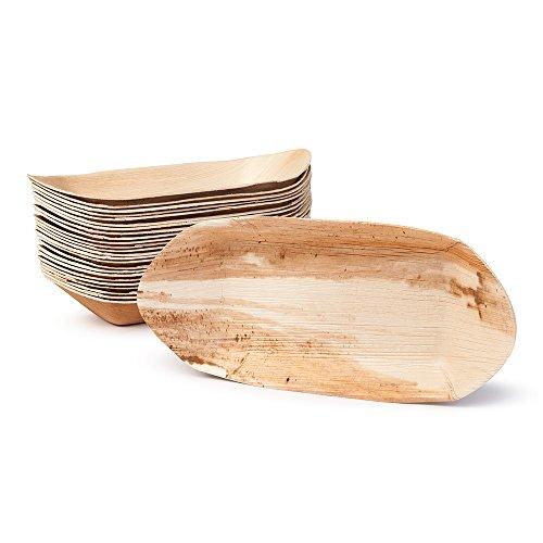 Biozoyg ciotola in foglia di palma per finger food i vasellame monouso biodegradabile i ciotole monouso da portata ciotola per immersione ciotola per merendine i 25 pezzi party boat 30 cm