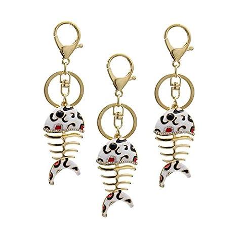 KesiErte Cute Fish Bone strass Keychain Metal Creative Gift Pendant Accessoire auto Accessoire , C