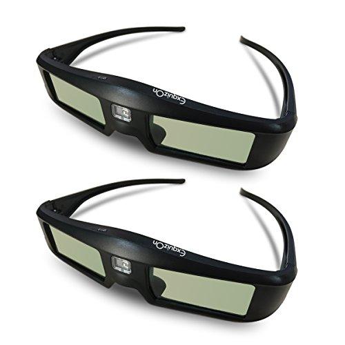 2 x Gafas 3D DLP-Link ExquizOn, 96-144Hz Gafas 3D Universal con Obturador Activo, Full HD 1080P, Compatible con Todos Proyectores 3D DLP como Acer/BenQ/ViewSonic/LG, Recargable para 60 Horas de Uso