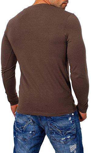 be48c789a0fd Young Rich Herren Longsleeve Rundhals Ausschnitt Langarm Shirt Einfarbig  Slimfit mit Stretchanteilen Uni Basic Round-Neck ...