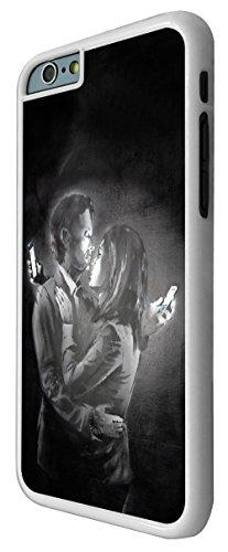 107-Banksy Mobile Lovers Design Coque iPhone 6Plus/iPhone 6Plus S 5.5Design Fashion Trend Case Back Cover Métal et Plastique-Blanc