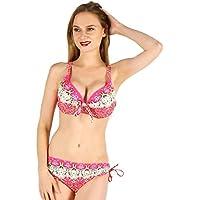 DONG Femmes Bikini Ensembles sexy deux pièces Split maillot de bain licou cravate imprimant maillot de bain et Boardshort Tankini (S-XXL) (Couleur : Rose, taille : M)