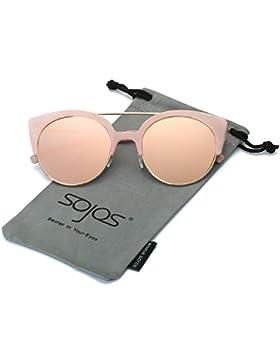 SojoS Gafas De Sol Mujer Marco Metal Ojo De Gato Clásico Retro Vintage SJ2035