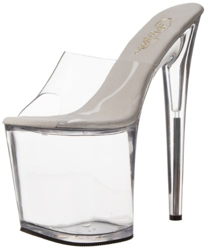 Pleaser Flamingo-801, Semelle compensée et talons femme Transparent  (Clear)