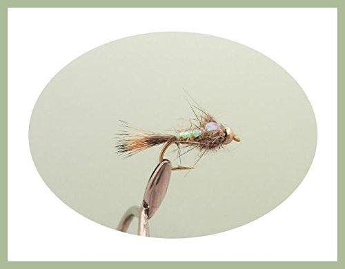 12Stück gold Bead Flash Hasen Ohr Nymphe Forelle Fliegen, gemischt Größe 10/12/14und 16