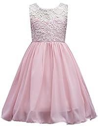 LSERVER-Vestido de Encaje con Flores Ropa de Boda Fresco Verano Para Niñas