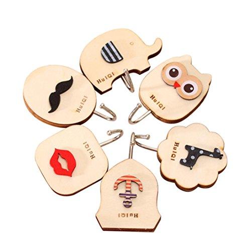 TAOtTAO 6 ganchos adhesivos para puerta de pared o cocina, diseño de dibujos animados