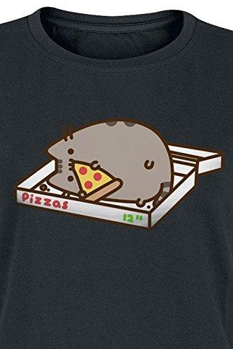 Pusheen Pizza Love T-shirt Femme noir Noir