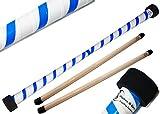 TWIST Devilstick (Weiß/Blau) inkl. Holz Handstäbe mit 2 mm Silikonmantel von Flames N Games Devil stick Set Für Kinder und Erwachsene.