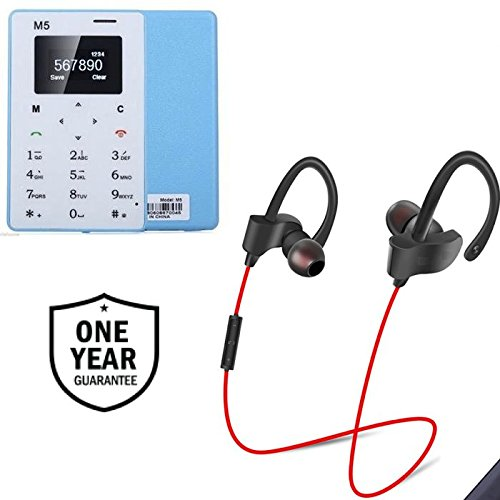 Captcha Stereo Sound Qc-10 Jogger Bluetooth Earphones & Thin Credit Card Size Multifunctions Phone (1 Year Warranty)
