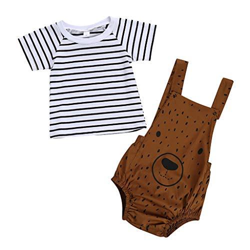Bazhahei completi bambina estate,infantile bambino ragazza casuale tuta manica corta t-shirt a striscia tops + orso romper 2pcs set per festa club ballo scuola (3mesi-3anni)