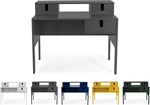 tenzo 8573-014 UNO Designer Secrétaire 3 tiroirs, Gris, MDF Particules ép. 19 mm Panneau arrière laqué. Poignées en matière Plastique, 92 x 105 x 50 cm (HxLxP)