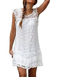 FEITONG Mujer Casual Cordón Sin mangas playa Vestido corto Mini vestido de borla (Blanco, M)