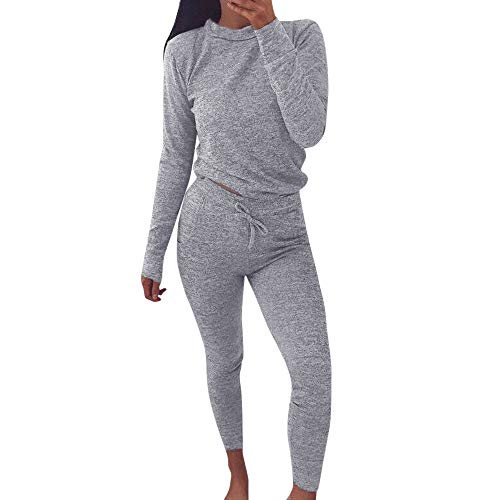 SuperSU Frauen 2 PCS Trainingsanzüge Set Damen Jogger Active Sport Bluse Tops Hosen Sets Fleece-Anzug Hausanzug aus wärmenden Fleece für Damen Jogginganzug Trainingsanzug Sportanzug Bequem ()