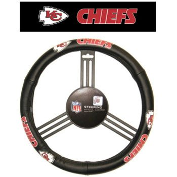 NFL Kansas City Chiefs Leather Steering Wheel Cover, One Size, Black