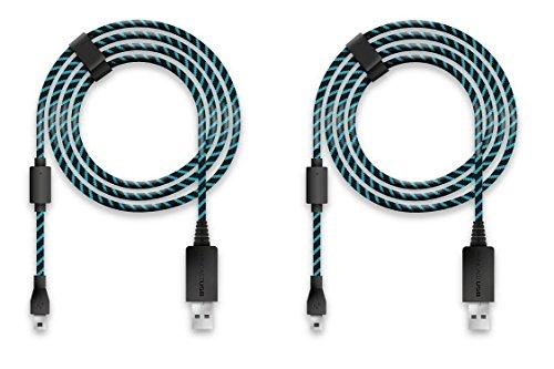 Lioncast Ladekabel/USB-Kabel/Controllerkabel für Controller der PS4 und Xbox One, 4m schwarz/blau Micro-USB/Unverzichtbares Playstation 4- und Xbox One Zubehör für jeden Zocker - 2 Stück