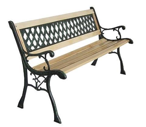 3 Seater Wooden Slat Garden Bench Seat Lattice Style Cast Iron Legs