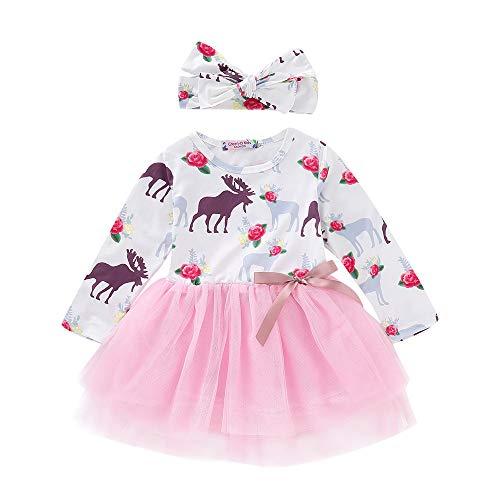 Kleinkind Baby Mädchen Kleider, Cartoon Hirsche Drucken Tutu Tüll Langarm Kleid Stirnbänder Prinzessin Rock + Haarband Outfits Set (6M-24M) Ostern (Weiß,100)