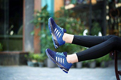 Uomo Donna Scarpe Sneakers Ginnastica Sportive Estive Basse Basket Nero Rosso Blu Verde Rosa 35-46 Blu